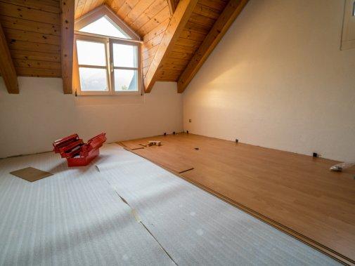 Laminate flooring in progress